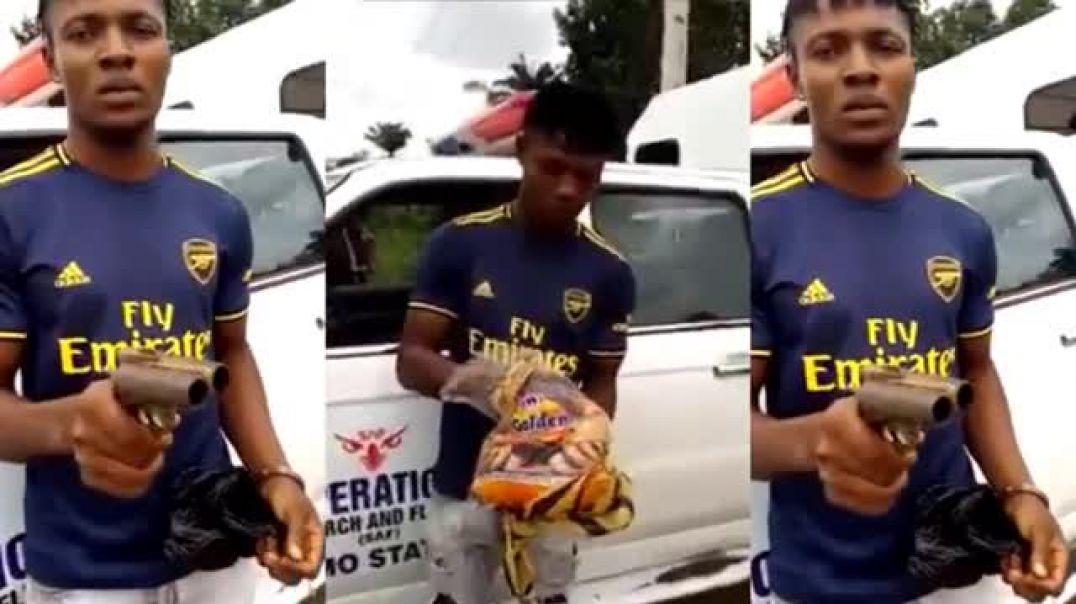 MAN ARRESTED WITH GUN HIDDEN INSIDE BREAD, MAN FROM VOKIGWE IMO STATE CAUGHT BY SECURITY OPERATIVES